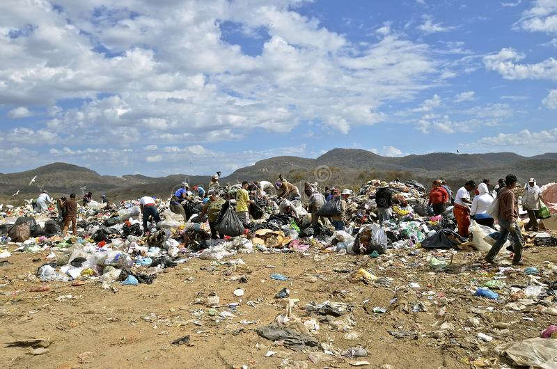 Moradores da descarga que peneiram através do lixo fotografia de stock