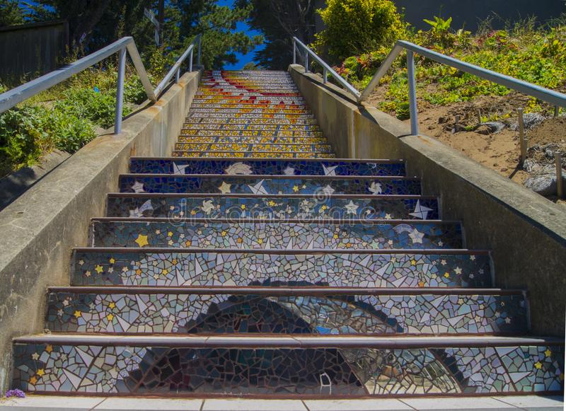 Golden gate heights mosaic stairway, Tiled Steps stock photos