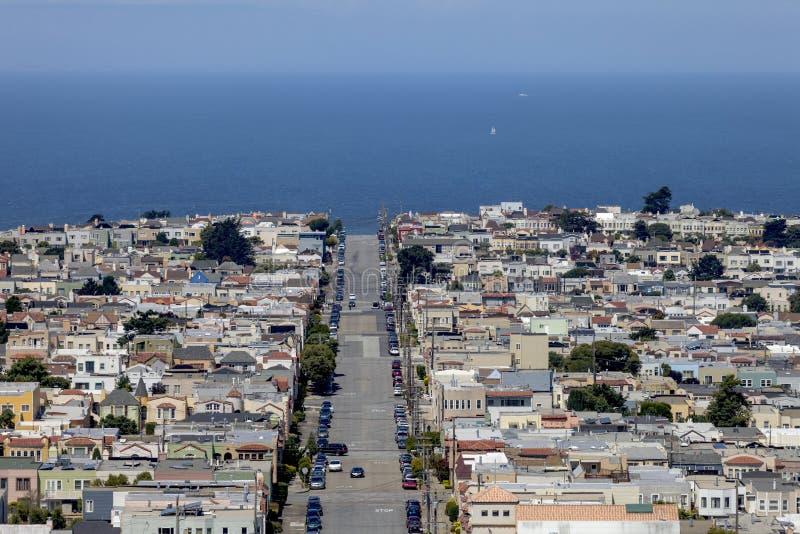 Moraga Street - San Francisco, California. This is a mountain view image of Moraga Street, in San Francisco, California. Image is looking West towards the stock photo