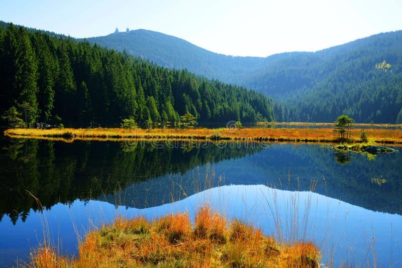 Moraine湖有登上的总阿尔伯克莱纳Arbersee在国家公园巴伐利亚人森林里 库存图片