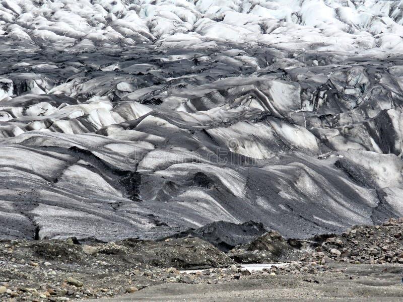 Moraine 2017 da geleira de Islândia Skaftafellsjokull fotos de stock