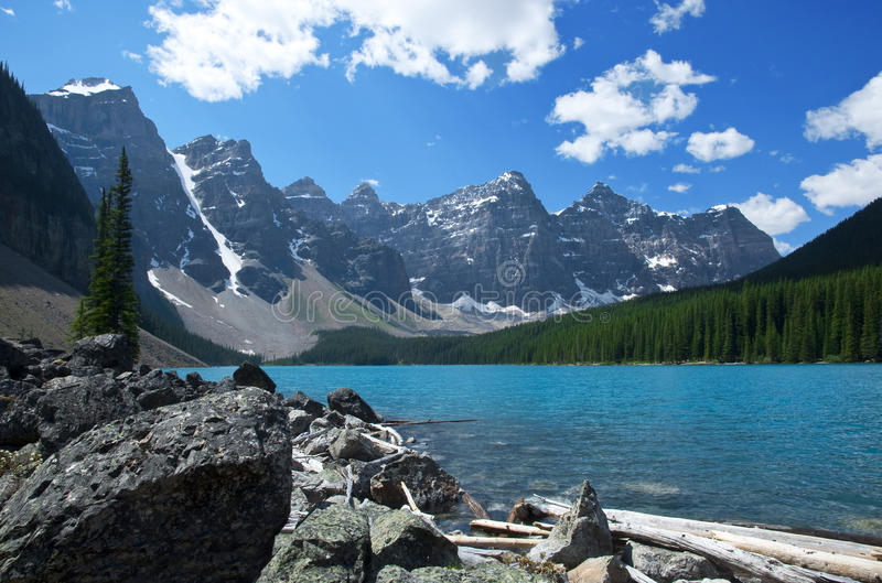 Moraine Lake. Alberta with its intensely turquoise waters and scenic mountain backdrop royalty free stock photo
