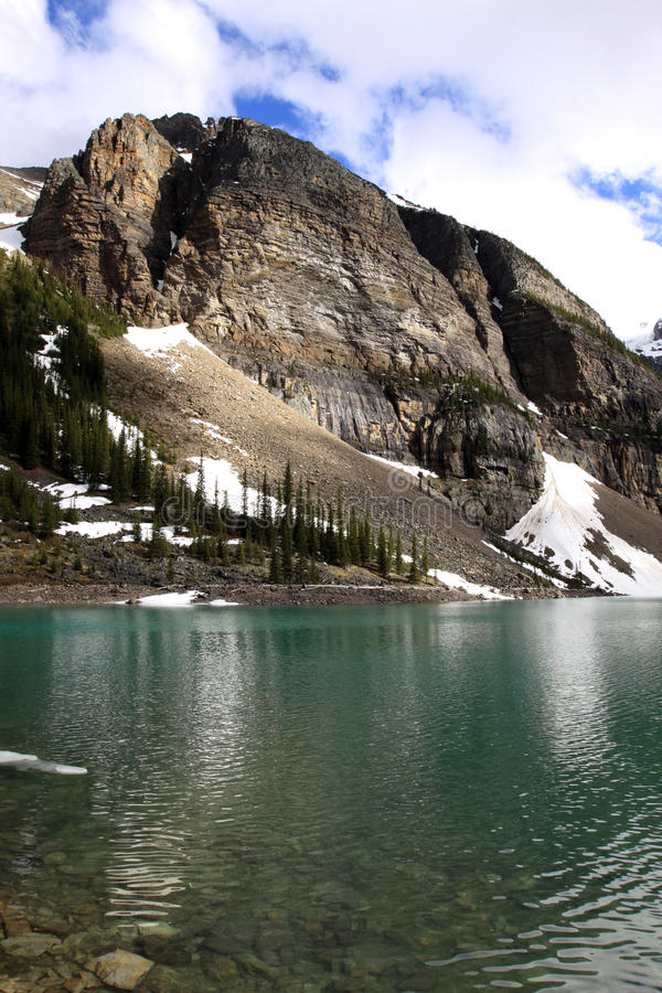 Moraine Lake. Classic view of Moraine Lake and the Canadian Rockies royalty free stock photos