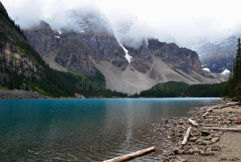 Moraine Lake in Alberta royalty free stock image