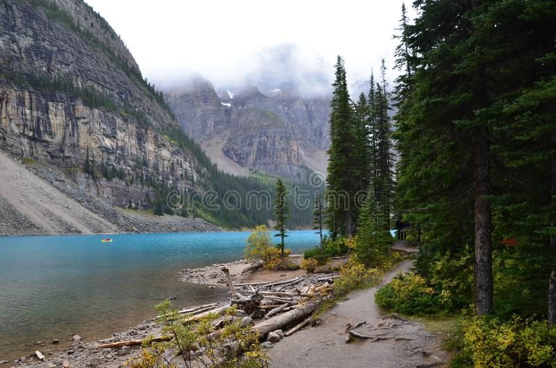 Moraine Lake in Alberta royalty free stock photos