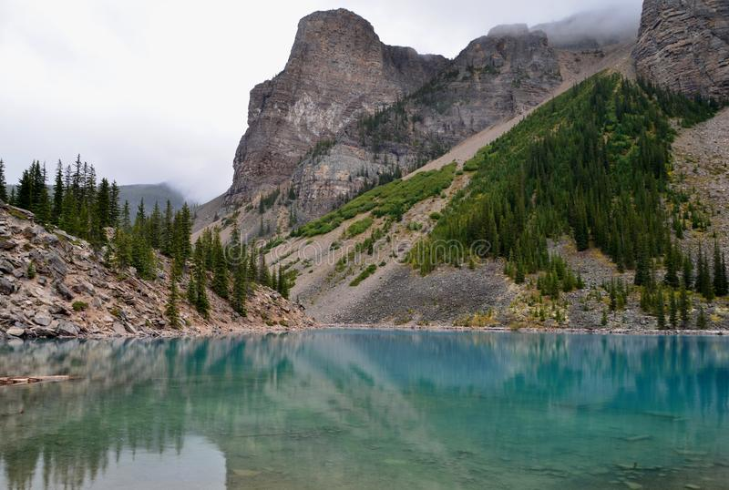 Moraine Lake in Alberta stock photography