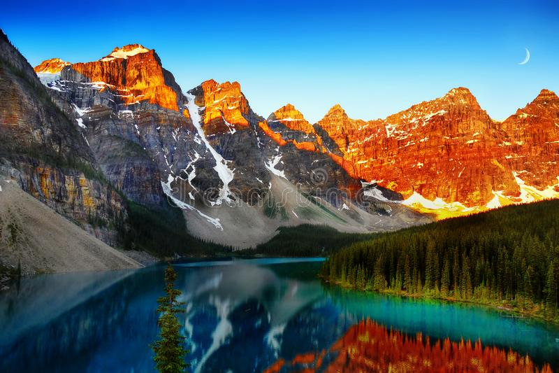 Moraine Lake, Banff National Park, Canadian Rockies. Moraine Lake in the Canadian Rockies at sunrise. Banff National Park, Canada stock images