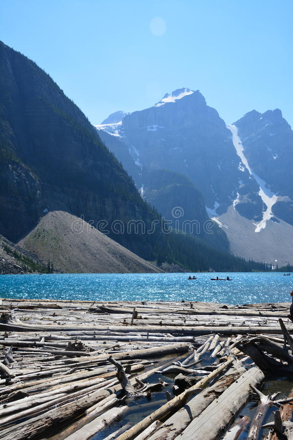 Moraine Lake Canada. Moraine lake in the summer, Banff national park Canada royalty free stock photo