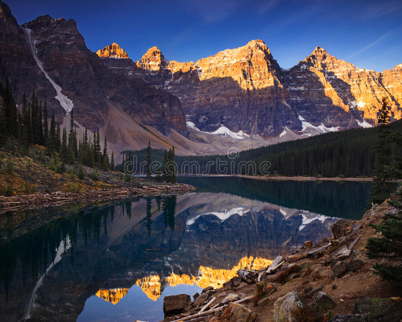Moraine Lake Early in the Morning. Moraine lake is a glaciated lake in Banff, Alberta Canada stock image