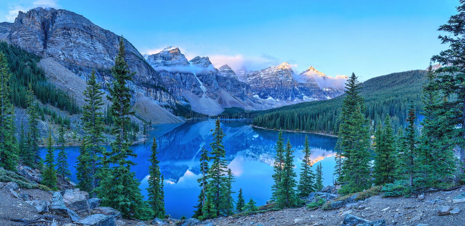 Moraine Lake. Is a glacially-fed lake in Banff National Park stock photos