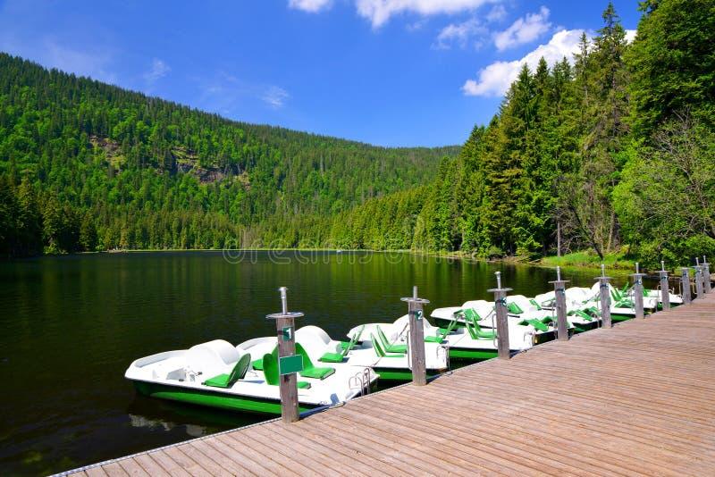 Moraine lake Grosser Arbersee. Germany. stock image