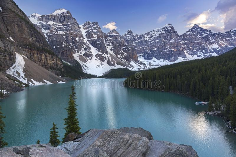 Moraine Lake Landscape View Banff National Park Canadian Rocky Mountains. Iconic Landscape View of Moraine Lake and snowy Rocky Mountain Peaks in Banff National royalty free stock images