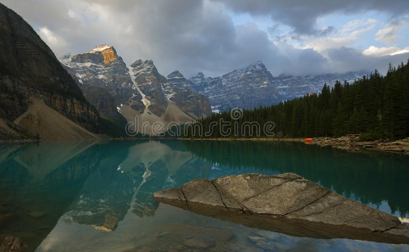 Moraine Lake. Is a glacier fed lake in Banff National Park. It is situated in the Valley of Ten Peaks, Alberta, Canada stock image
