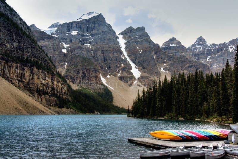 Moraine lake scenic stock photos
