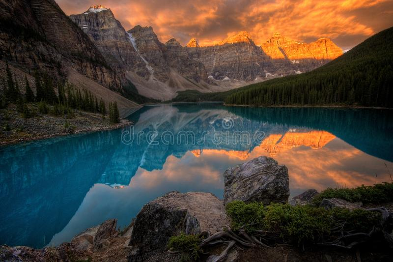 Moraine Lake at sunrise stock photos