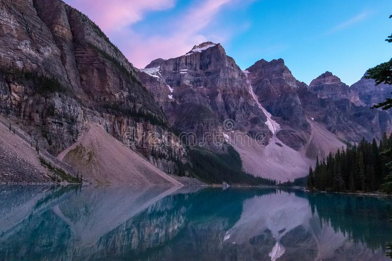 Moraine Lake after Sunset stock images