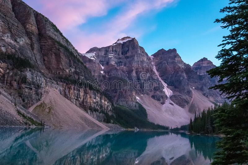 Moraine Lake after Sunset royalty free stock photos