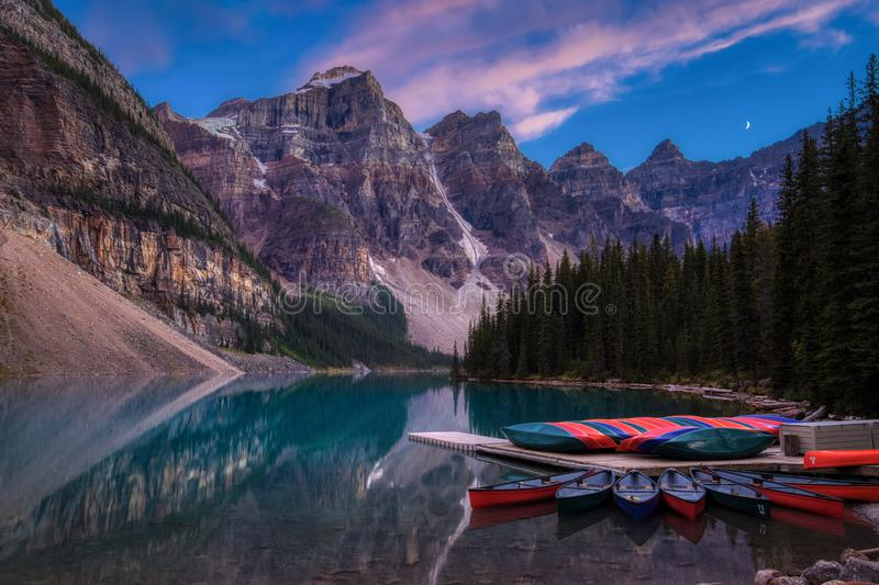 Moraine Lake after Sunset royalty free stock images