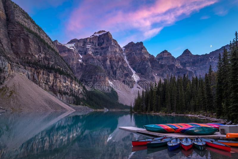 Moraine Lake after Sunset stock photos