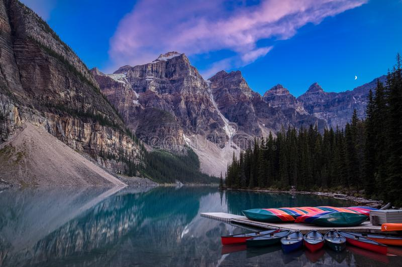 Moraine Lake after Sunset royalty free stock photography