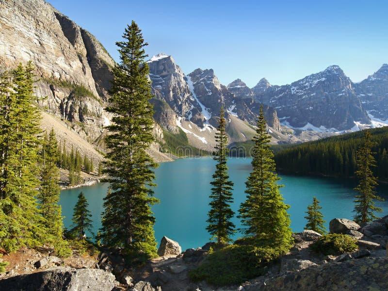 Moraine See - Alberta, Kanada lizenzfreies stockbild