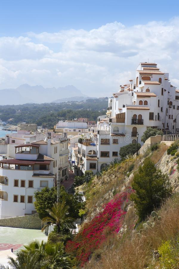 Moraira Dorf-Mittelmeerland in Spanien stockfoto