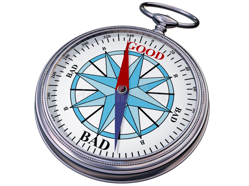 Moral compass. Illustration of a moral compass helping you to make the right decision royalty free illustration
