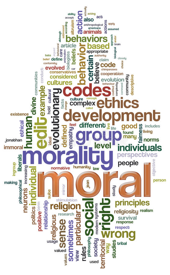Moral wordcloud stock illustration