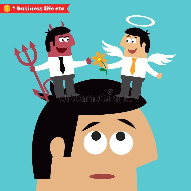 Moraliskt val, affärsetik och frestelse royaltyfri illustrationer
