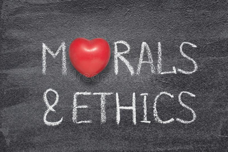 Morals and ethics heart. Morals and ethics phrase written on chalkboard with red heart symbol instead of O stock illustration