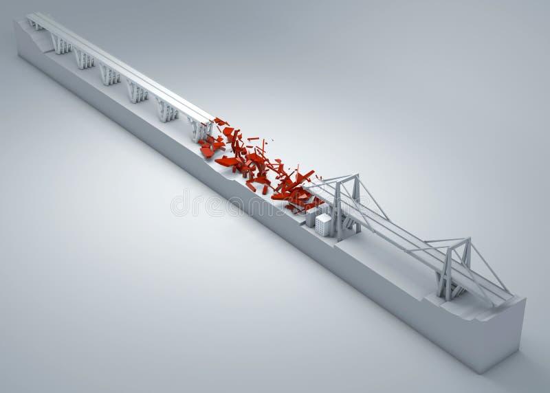 Morandi-Brücke von Genua, eingestürzte Brücke, schlechte Wartung Rekonstruktion und Demolierung der gesamten Brücke Italien stock abbildung