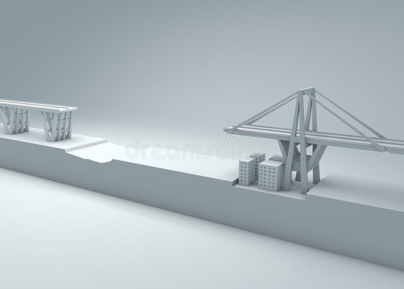 Morandi-Brücke von Genua, eingestürzte Brücke, schlechte Wartung Rekonstruktion und Demolierung der gesamten Brücke Italien vektor abbildung