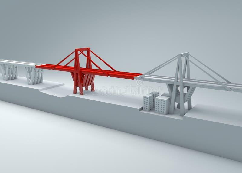 Morandi-Brücke von Genua, eingestürzte Brücke, schlechte Wartung Rekonstruktion und Demolierung der gesamten Brücke Italien lizenzfreie abbildung