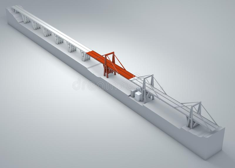 Morandi Bridge of Genoa, collapsed bridge, poor maintenance. Reconstruction and demolition of the entire bridge. Italy vector illustration