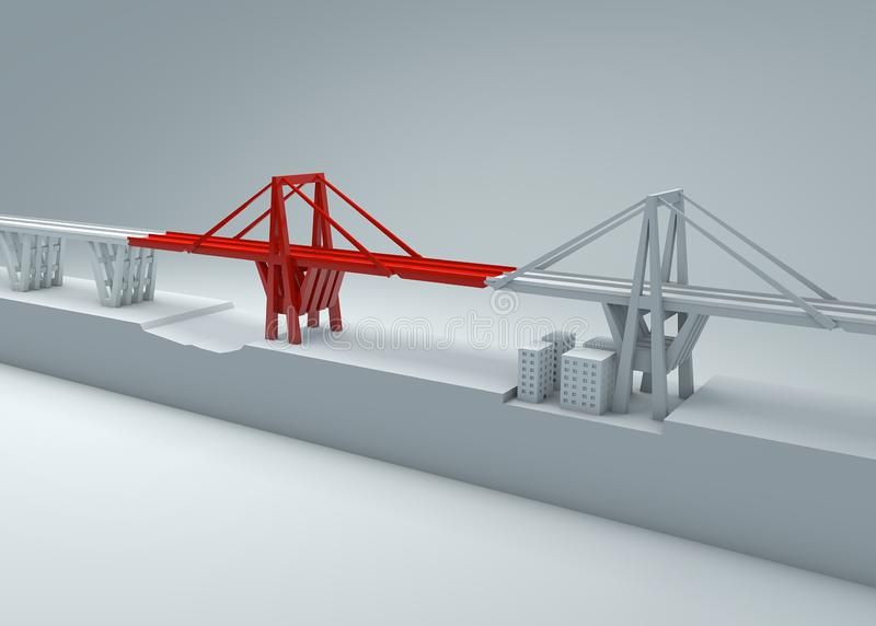 Morandi Bridge of Genoa, collapsed bridge, poor maintenance. Reconstruction and demolition of the entire bridge. Italy royalty free illustration