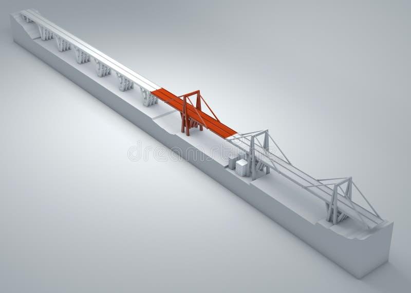 Morandi most genua, załamujący się most, biedny utrzymanie Odbudowa i rozbiórka całkowity most Włochy ilustracja wektor