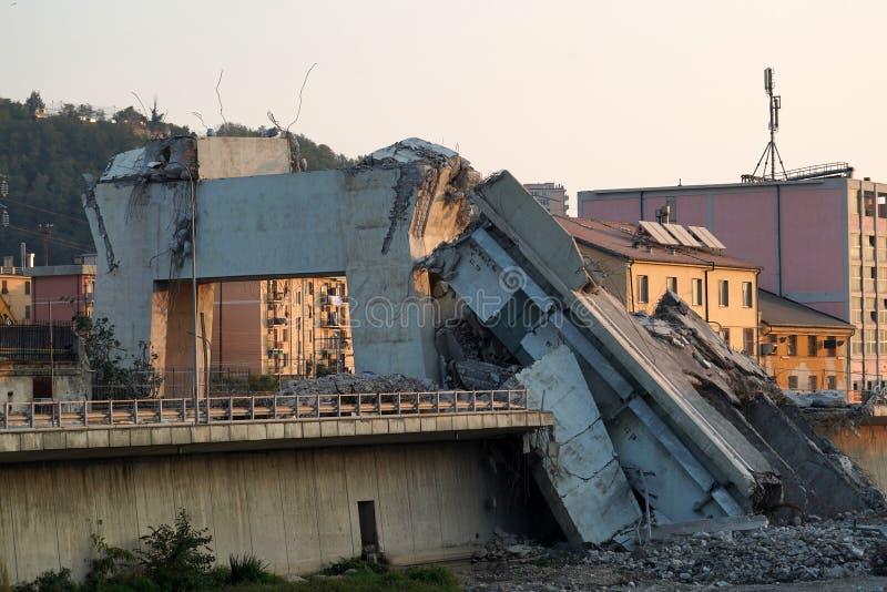 Morandi se derrumbó puente en Génova fotografía de archivo libre de regalías