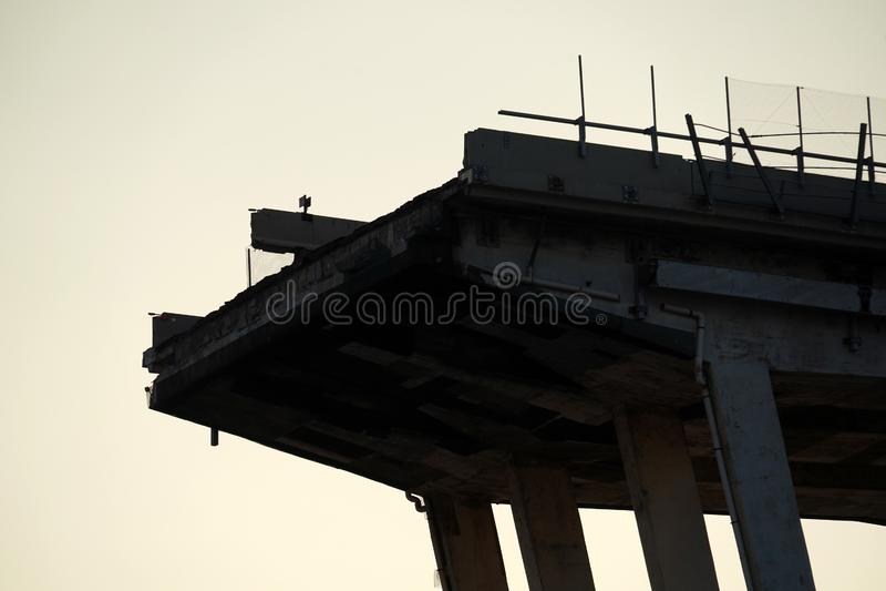 Morandi se derrumbó puente en Génova fotografía de archivo