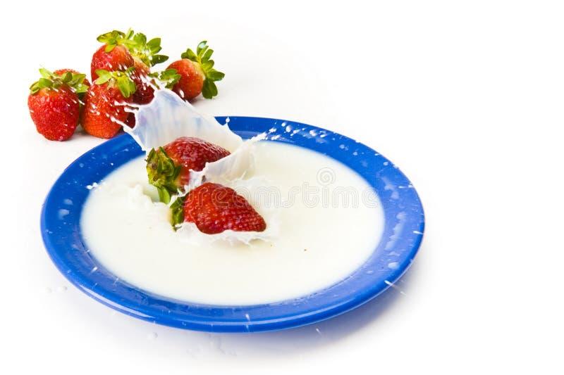 Morango com leite foto de stock