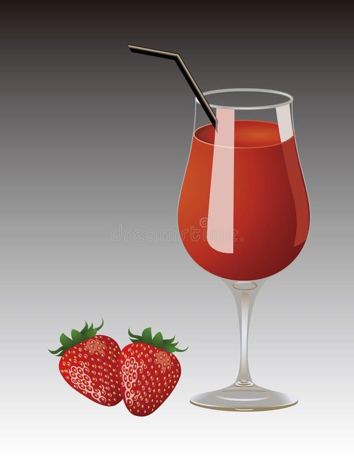 Morango, copo do suco ilustração royalty free