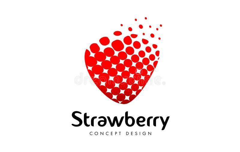 Morango Logo Design Ícone vermelho da morango ilustração do vetor