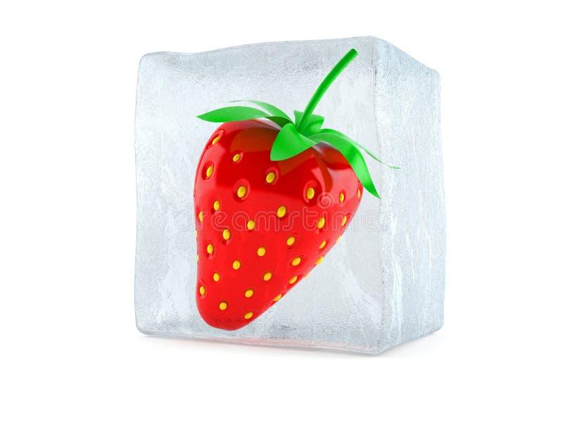 Morango no cubo de gelo ilustração royalty free