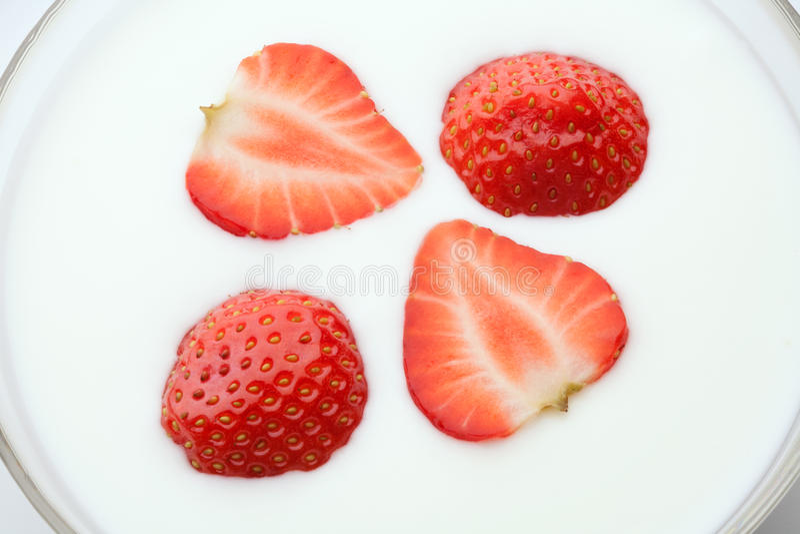 Morango no Yogurt imagem de stock royalty free