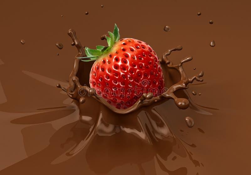 Morango que cai no espirro líquido do chocolate ilustração do vetor
