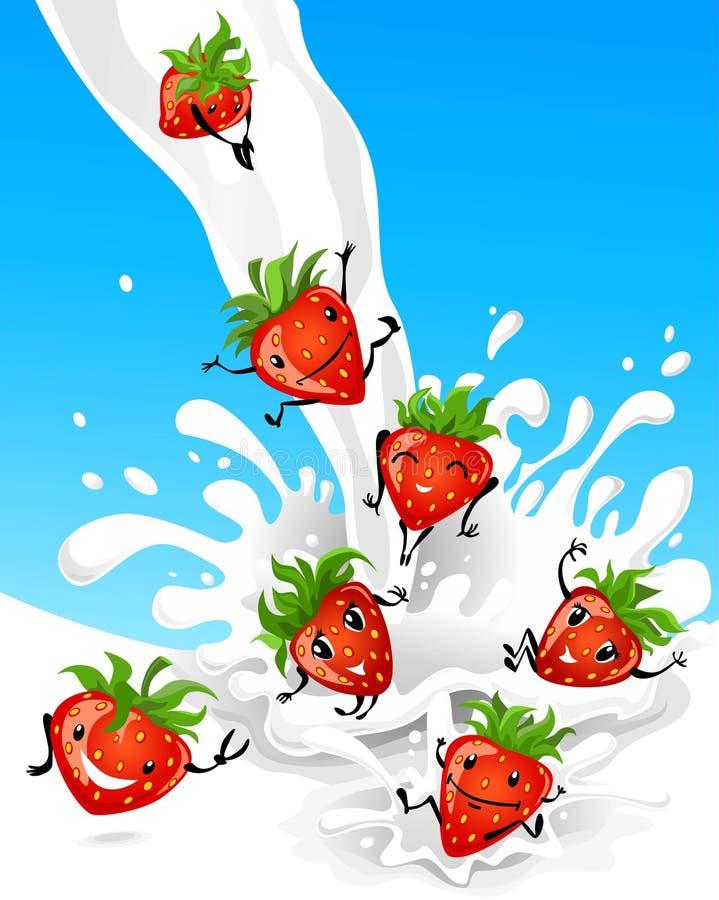 Morango que tem o divertimento no leite ilustração royalty free