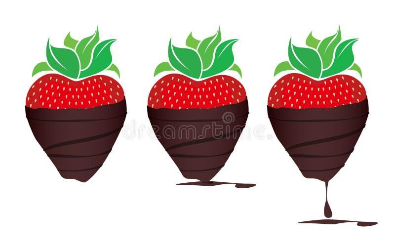 morangos Chocolate-mergulhadas ilustração stock