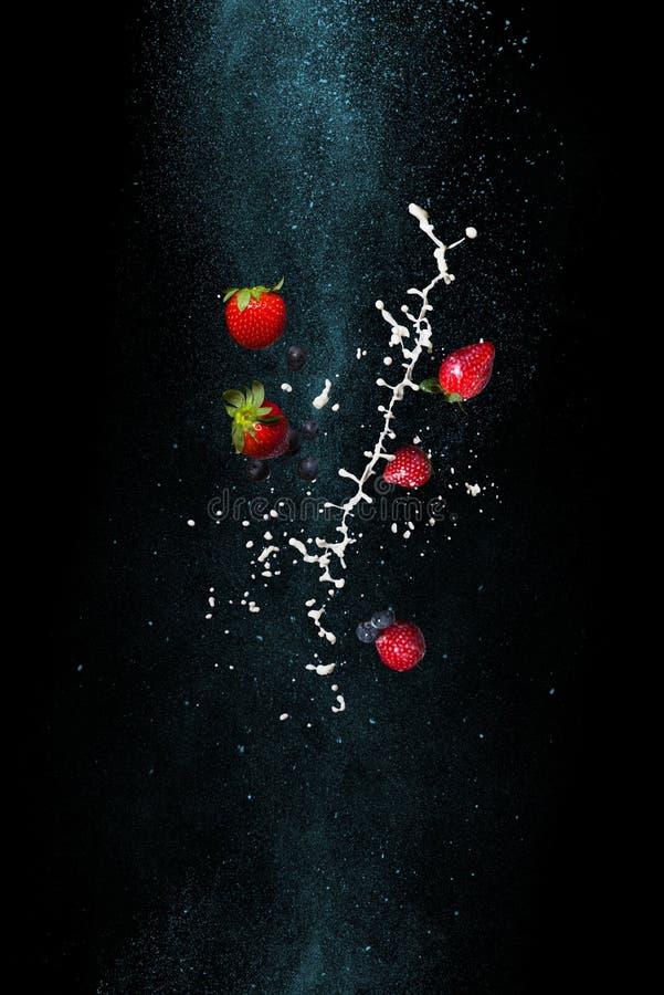 Morangos e leite em um fundo preto Pare o momento na gravidade zero fotos de stock