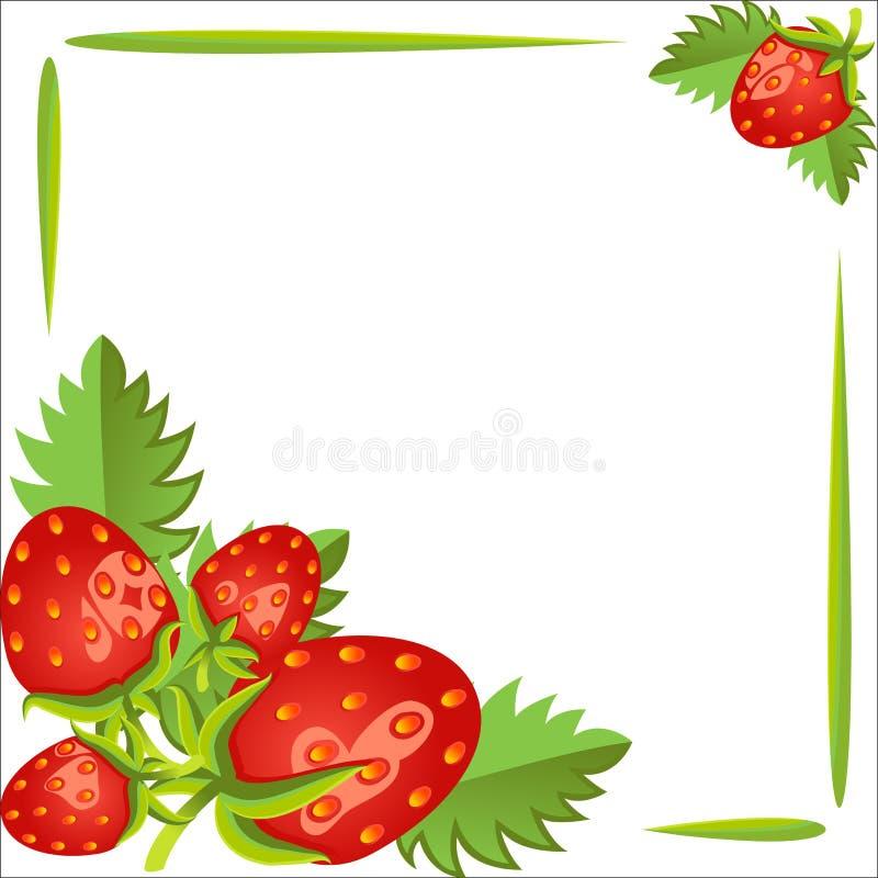 Morangos, quadro bonito O cartaz, espaço vazio ilustração stock