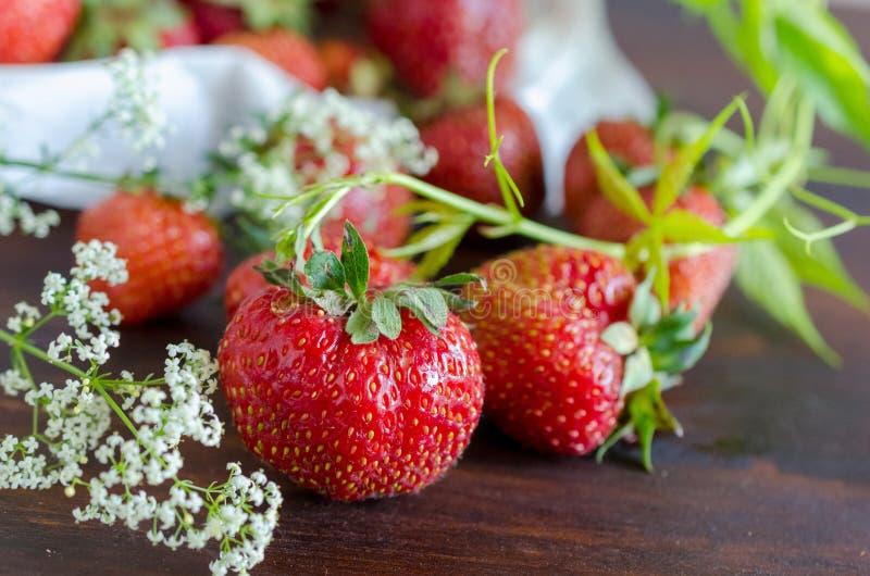 Morangos vermelhas maduras e flores selvagens brancas no verão fotos de stock royalty free