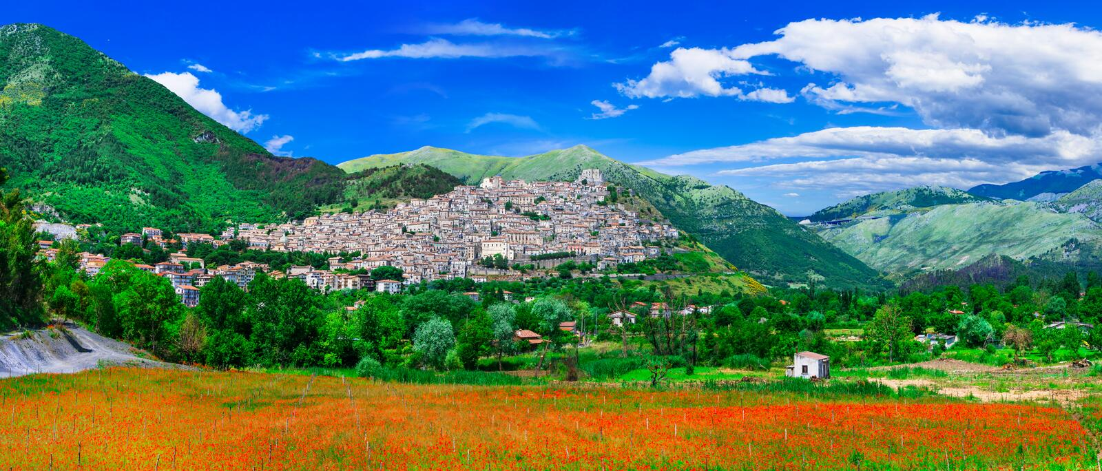 Morano Calabro - one of the most beautiful villages of Italy. Impressive Morano Calabro village,view with flowers and mountains.Calabria,Italy royalty free stock images